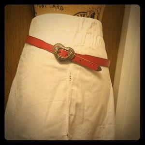 Vintage Red Leather Heart Western Boho Belt